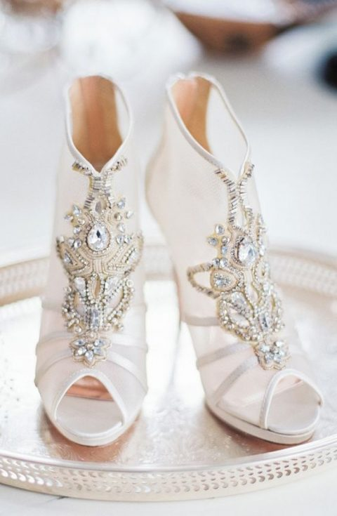 peep toe wedding booties with rhinetones and beading