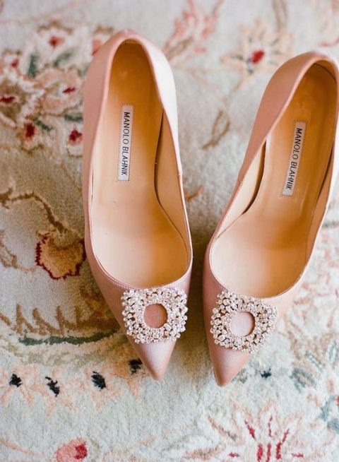 pink Manolo Blahnik wedding heels with beading
