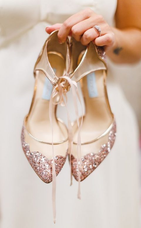 pink glitter wedding shoes with lacing