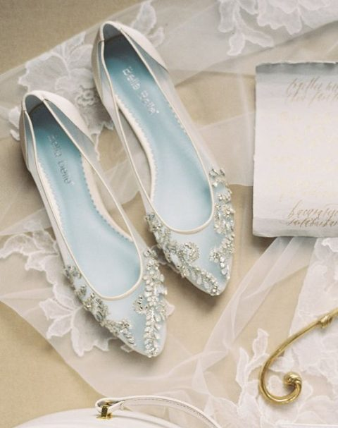sheer wedding flats with heavy beading