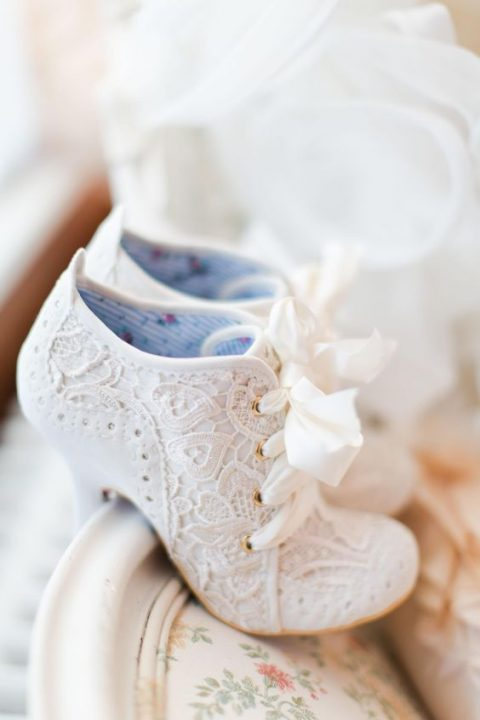 vintage lace wedding booties for warmth and chic