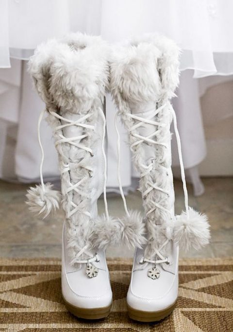 warm lacing up winter wedding boots with faux fur
