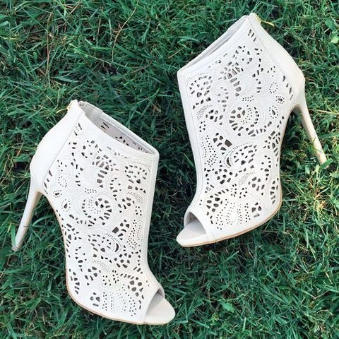 white peep toe laser cut suede wedding booties