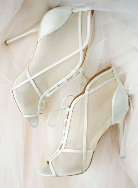 white sheer wedding booties with peep toes and leather straps