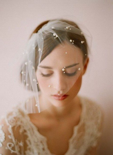 a birdcage veil with pearls looks very chic