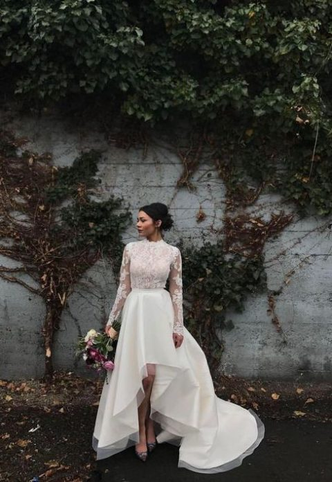 35 gorgeous long sleeve wedding dresses happywedd a gorgeous wedding dress with a turtleneck illusion bodice and sleeves and a high low skirt junglespirit Gallery