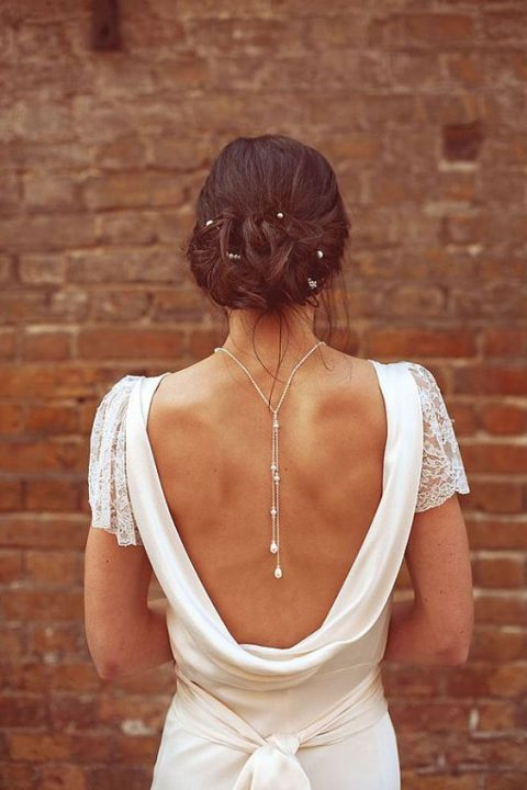 a pearl back necklace to accentuate your open back