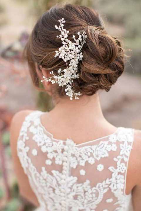 a refined pearl wedding headpiece will accentuate any hairstyle
