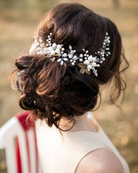 a romantic hair vine of pearls, beads and gold leaves