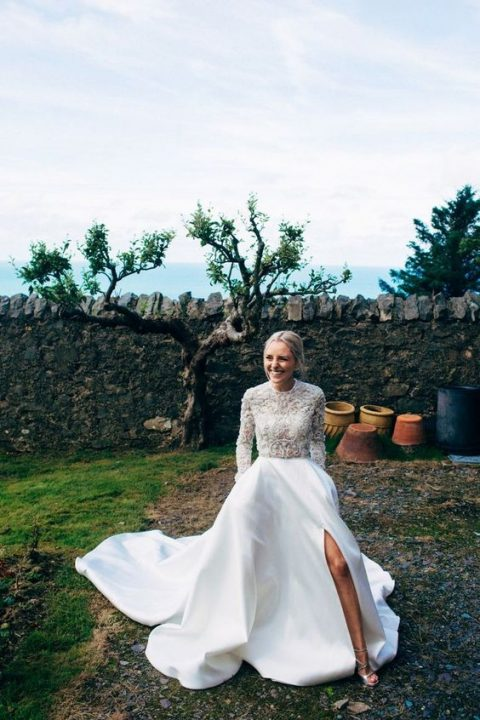 35 gorgeous long sleeve wedding dresses happywedd lace applique bodice and long sleeves wedding dress with a plain skirt and a side slit junglespirit Image collections