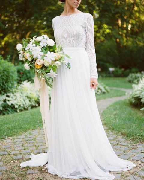35 gorgeous long sleeve wedding dresses happywedd long sleeve vintage lace wedding dress with a high neckline and long sleeves junglespirit Gallery