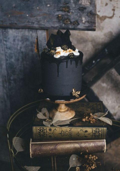 matte black wedding cake with black drip_ cream_ gilded blackberries and chocolate shards
