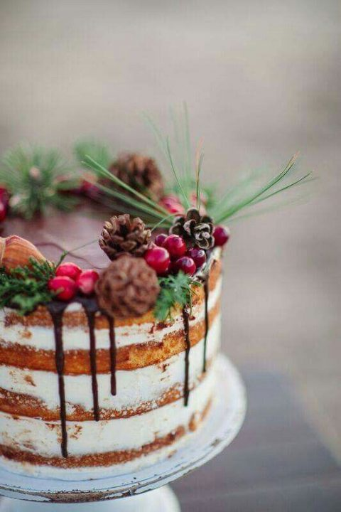 semi-naked chocolate wedding cake with chocolate drip_ pinecones_ cranberries and evergreens