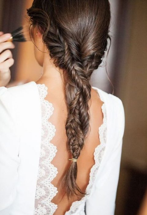 two fishtail braids twisted into one