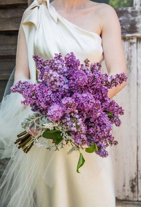 a bold ultra violet and purple lilac wedding bouquet