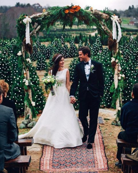a rustic wedding arch with evergreens and oversized pinecones