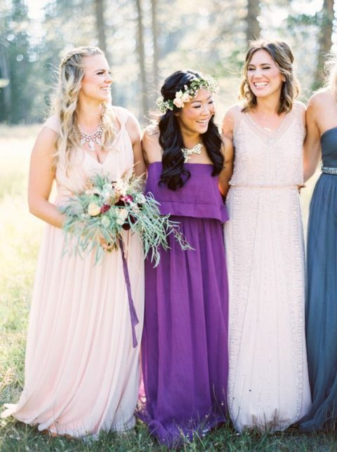a strapless ultra violet dress for the bridesmaid