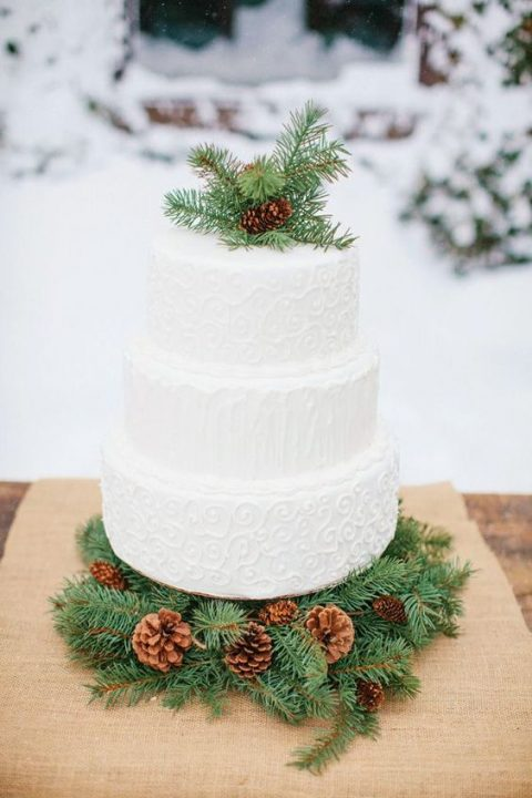 a textural white cake topped with pinecones and evergreens and served on them