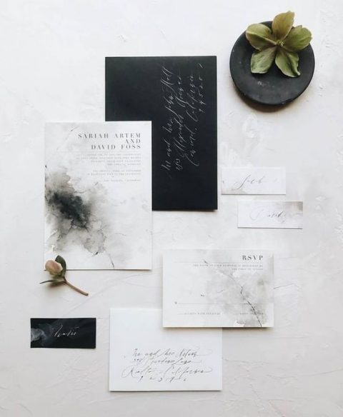 black and watercolor marble wedding stationery for a modern look