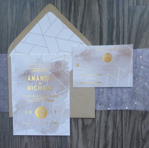 blush watercolor wedding stationery, glitter touches and geometric prints