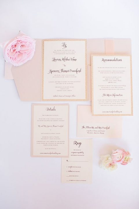 blush wedding stationery with frames and calligraphy