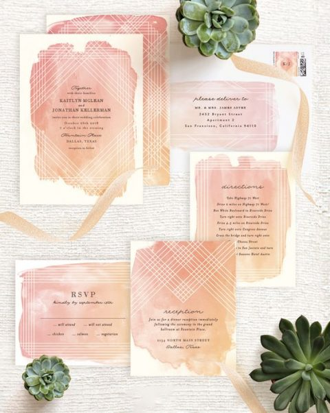 bold peachy pink watercolor wedding stationery