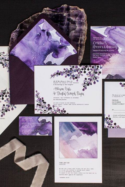 bold purple watercolor wedidng stationery