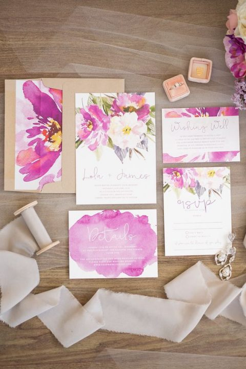 bold watercolor floral wedding stationery and kraft paper envelopes