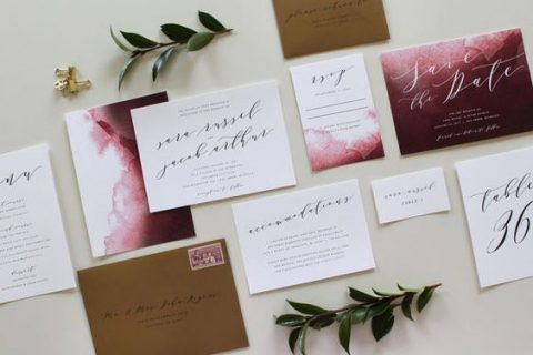 burgundy watercolor wedding stationery with kraft envelopes