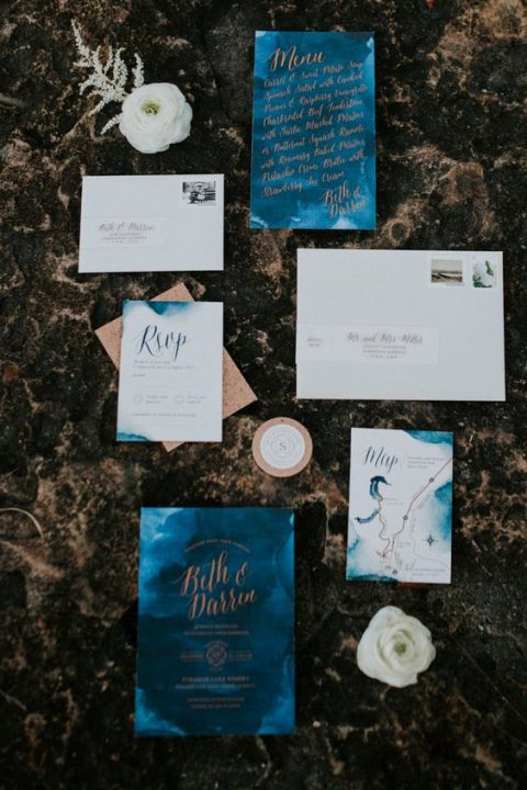 copper and electric blue watercolor wedding stationery