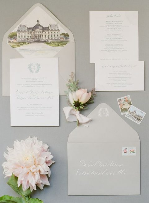 dove grey wedding stationery with a castle on the lining