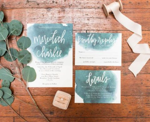 green watercolor wedding stationery