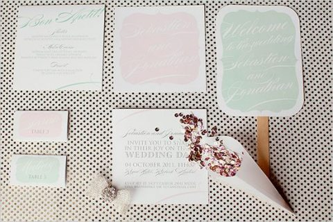light green and pink wedding stationery with a retro touch