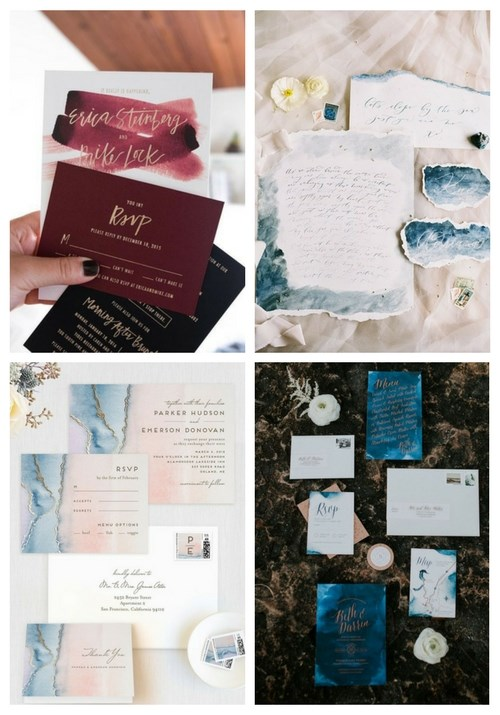 main Trendy Watercolor Wedding Stationery