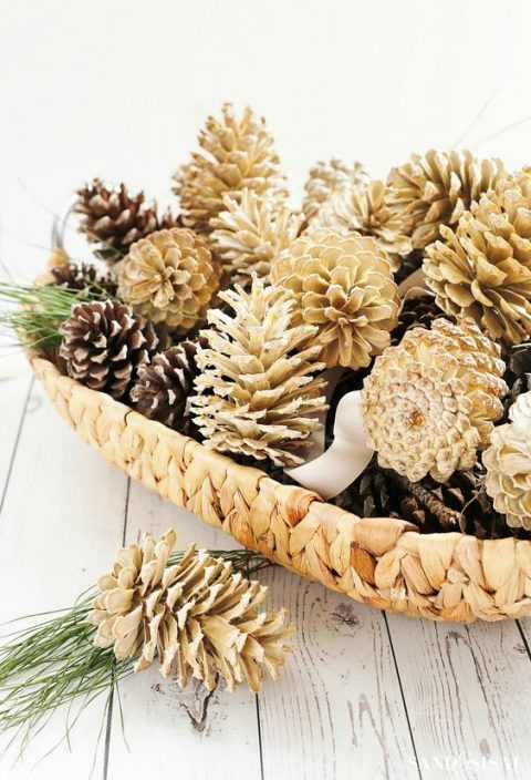 natural and bleached pinecones in a basket will make a cool centerpiece