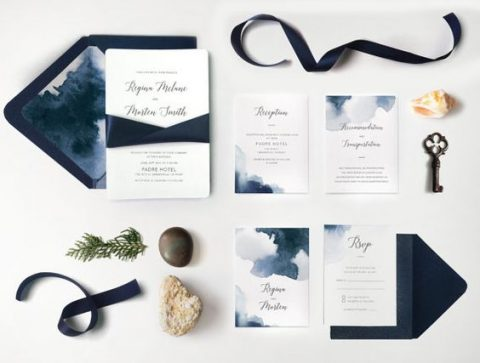 navy watercolor wedding stationery