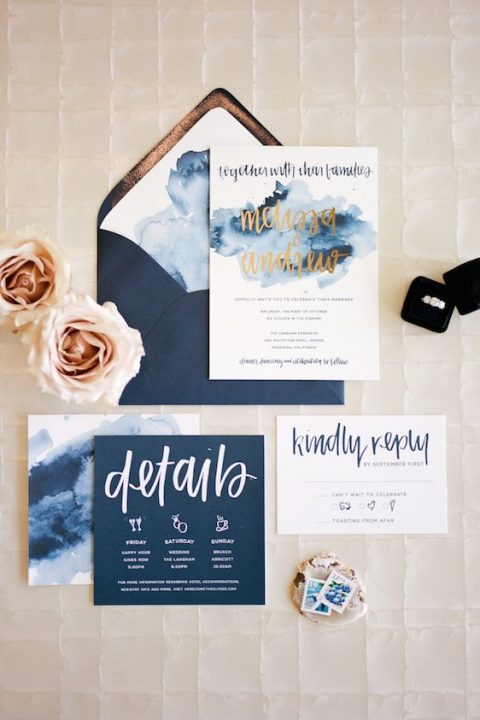 navy wedding stationery with watercolro details and gold calligraphy