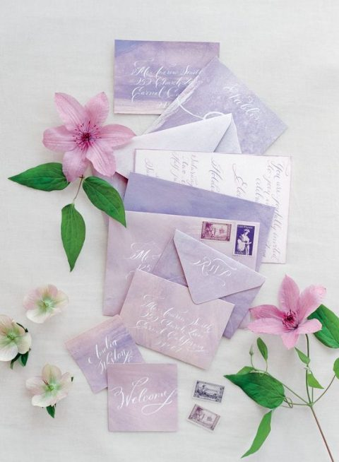 pastel wedding invitation suite in the shades of blush and lilac