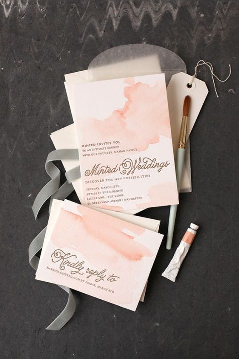 peachy pink watercolor wedding invites