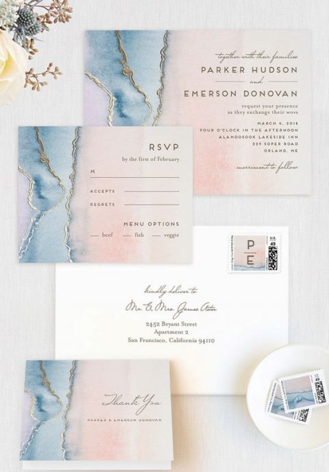 pink and blue watercolro wedding stationery with gold leaf touches