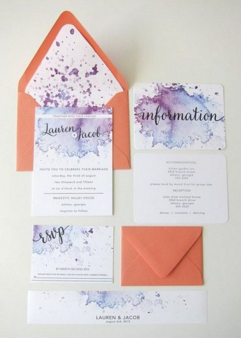 purple and blue watercolor wedding stationery and orange envelopes