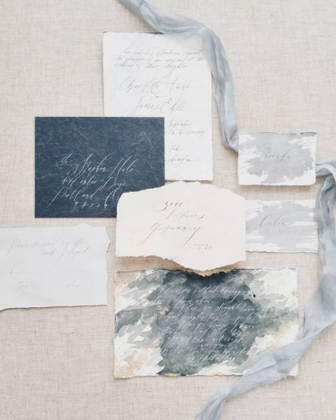 slate grey and dove grey watercolor wedding stationery