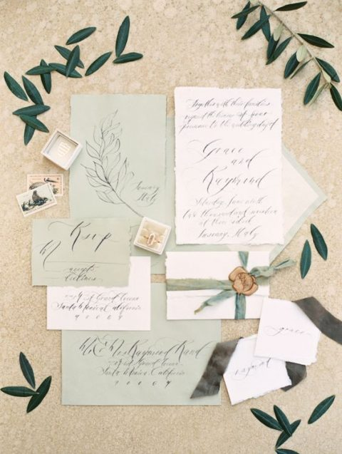 soft green wedding stationery with calligraphy for a Tuscany wedding