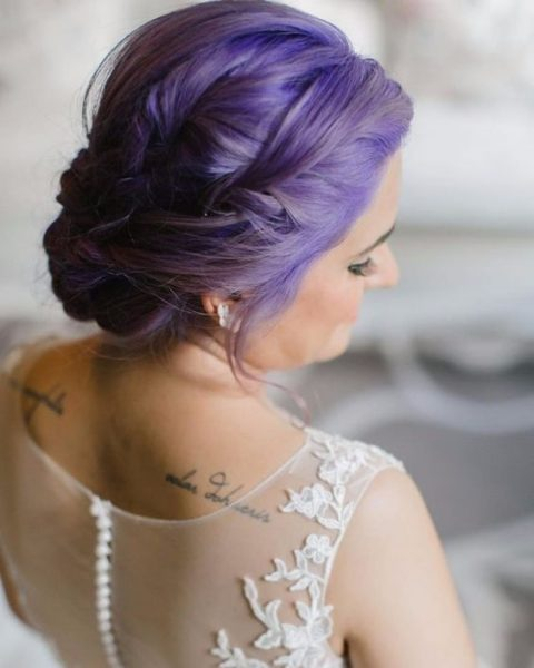ultra violet bridal updo with some braids and twists