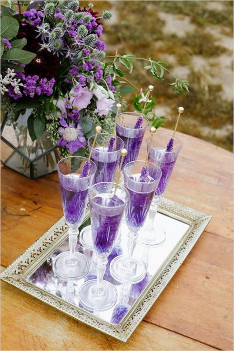 ultra violet cocktails with rock sugar candies