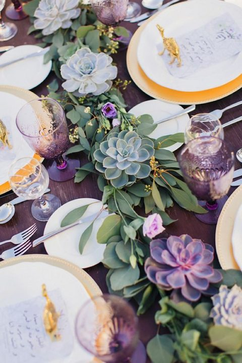 violet glasses and succulents for decorating the tablescape