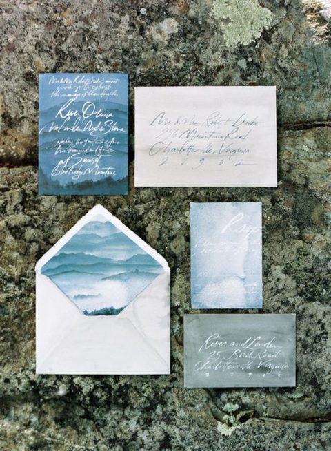 watercolor blue and grey wedding stationery with calligraphy