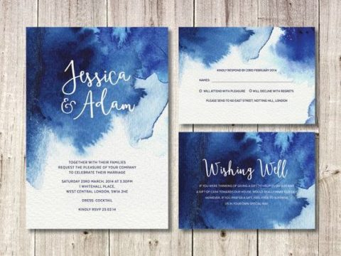 watercolor indigo blue wedding stationery