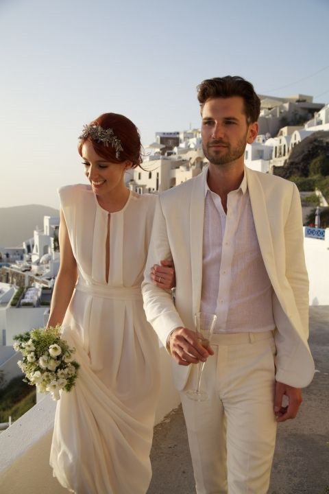 a champagne-colored wedding suit with a white shirt
