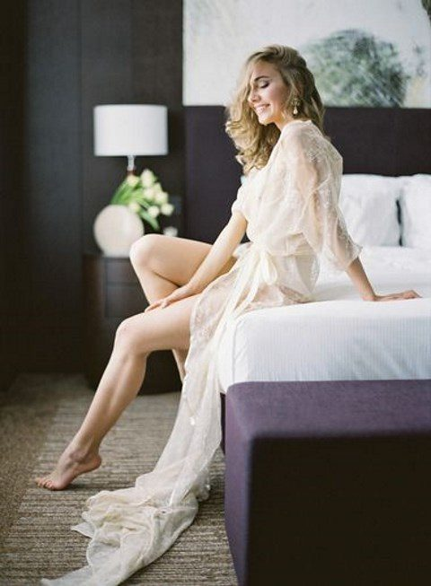 a chic long lace applique bridal robe with long sleeves and embroidery